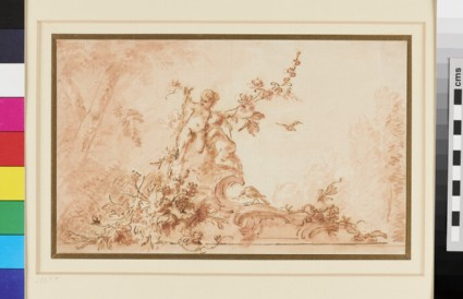 Two nude Cupids on a Scroll of Rococo Ornament with Birds and Garlands of Flowers