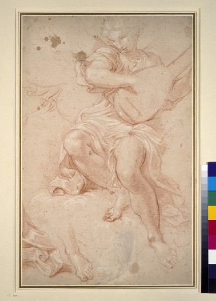 Angel seated on a cloud playing a lute, with separate studies of drapery, a hand, and a left foot