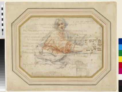 Recto: Young Man holding a Book<br />Verso: Long inscription commencing: La diferenza dalla perdita di Dio alla perdita delle cose del Mondo