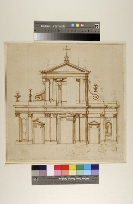 Prospect and plan of a facade of a church