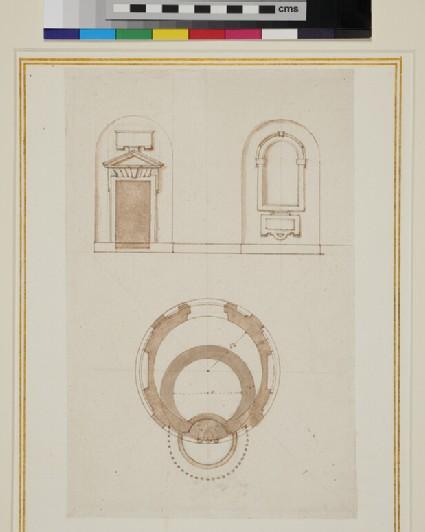 Design for a doorframe and an alcove with the groundplan of a little tempio in Santa Maria del Fonte di Caravaggio