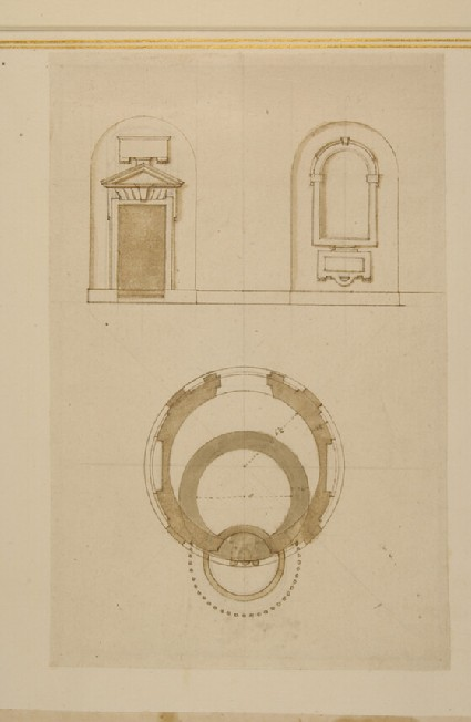 Design for a doorframe and an alcove with the groundplan of a little tempio in Santa Maria del Fonte di Caravaggio