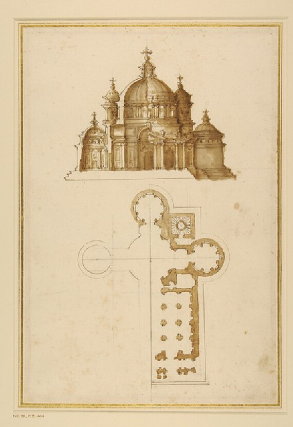 Plan and elevation of a cruciform church