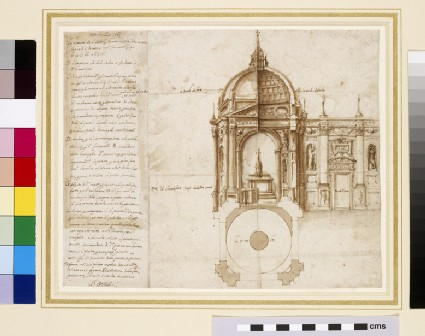 Project for the ciborium of the Basilica of Sts Bonifacio e Alessio, Rome, and an unrelated inscription