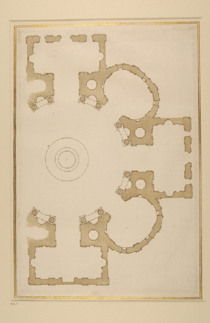 Groundplan after Michelangelo's final project for St Giovanni dei Fiorentini, Rome