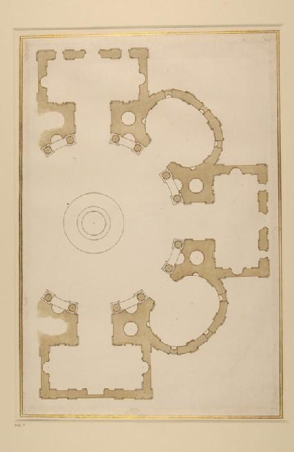 Groundplan after Michelangelo's final project for St Giovanni dei Fiorentini, Rome