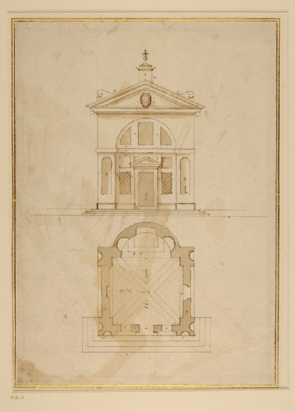 Plan and elevation of the oratory of San Carlo Borromeo, Porlezza