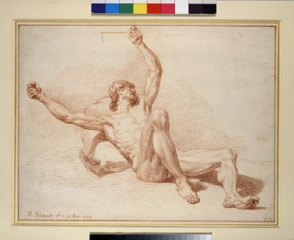 Male nude, wearing a helmet, sprawling backwards with arms outstretched