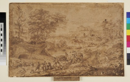 Landscape with a Group of Travellers, Camels, Sheep and Cows