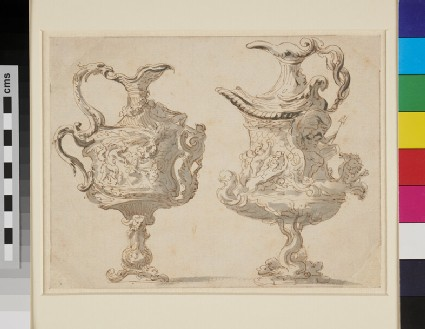 Two elaborately moulded pedestal jugs: satyr with nymphs and Poseidon in a chair drawn by fish-tailed horses