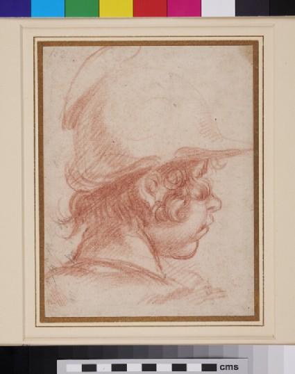 Head of a Boy wearing a Helmet