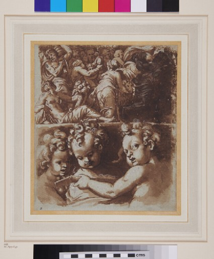 Part of a Frieze and, below, three Putti