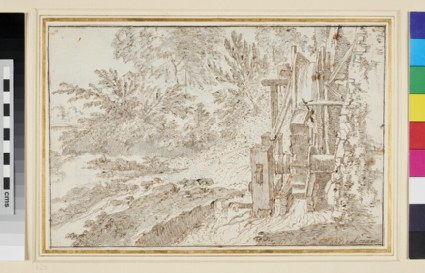 Recto: A Water wheel <br />Verso: Rocky Islets with Monument, Boats in a Harbour, Campanile, etc