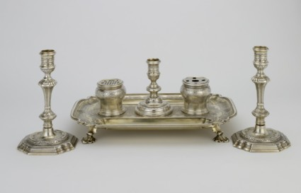 Inkstand, inkwells and candlestick
