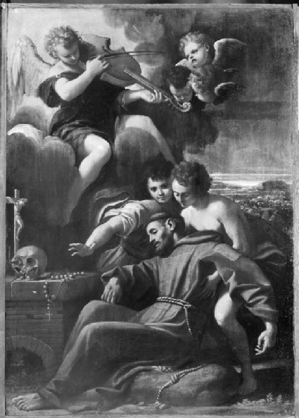 St Francis of Assisi Consoled by Angels