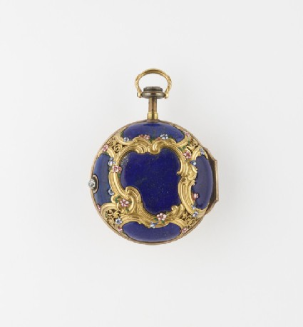Gold, enamel and lapis lazuli cased verge watch with quarter-repeat