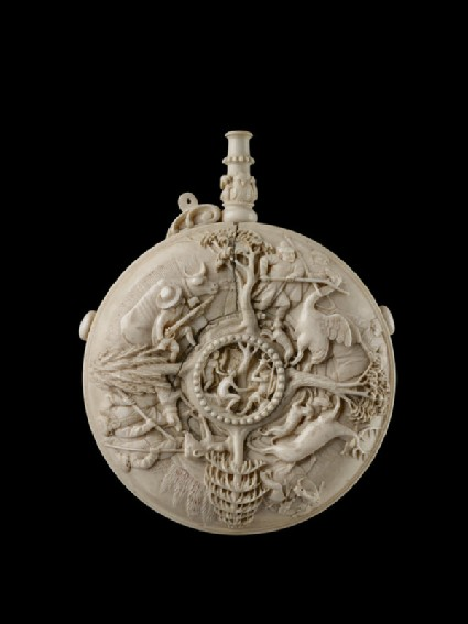 Powder-flask decorated with Scenes of Hunting and the Metamorphosis of Actaeon