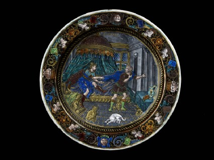 Plate: Joseph tries to flee from the attempt to seduce him by the wife of Potiphar