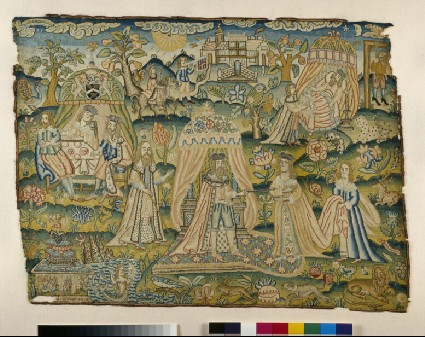Embroidered picture: 'Ahasuerus and Esther'