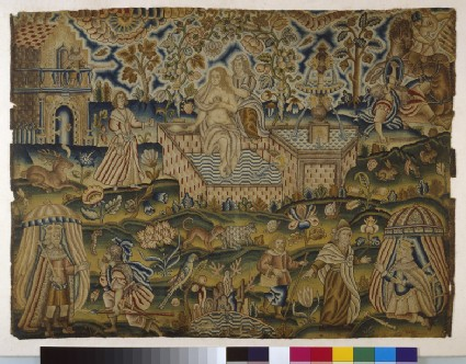 Embroidered picture with David and Bathsheba