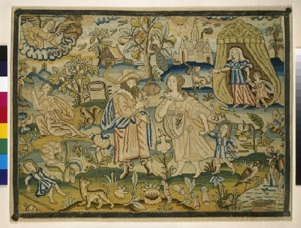 Embroidered picture with Abraham's dismissal of Hagar