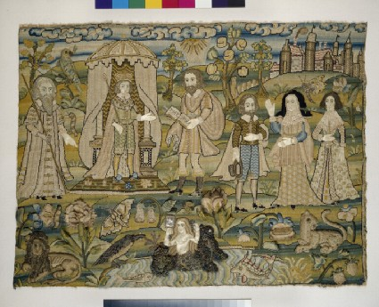Embroidered picture with The Proclamation of Solomon