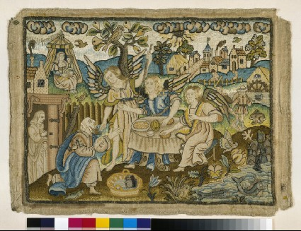 Embroidered picture with Abraham entertaining the Angels
