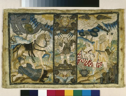 Textile book cover with Biblical scenes of Isaac, Samon and Saul