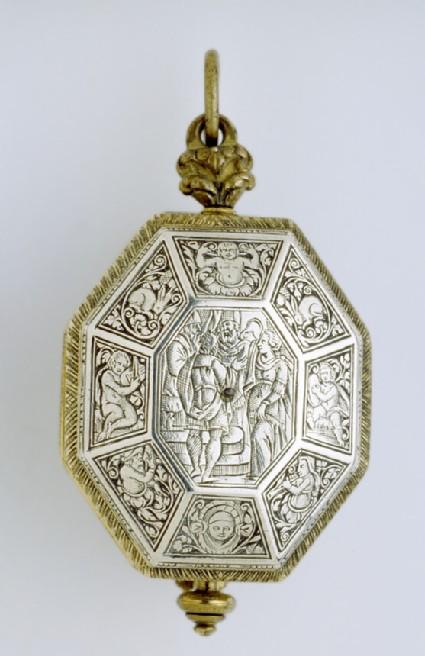 Elongated octagonal gilt-brass and silver cased verge clock-watch