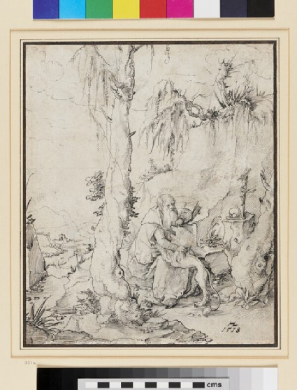 St Jerome in the Wilderness, the saint seated next to a tree while removing a thorn from the animal's paw
