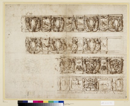 Designs for an armorial frieze for the Cesi family
