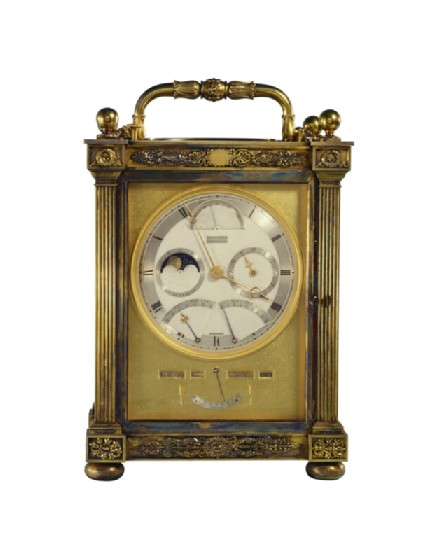 Silver-gilt carriage clock