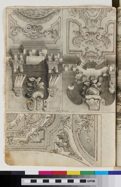 Recto: a vault design  <br />Verso: three vault designs