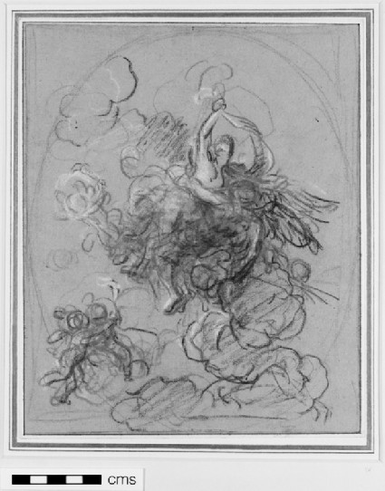Oval composition with a woman supported by a winged figure, with putti flying in the clouds
