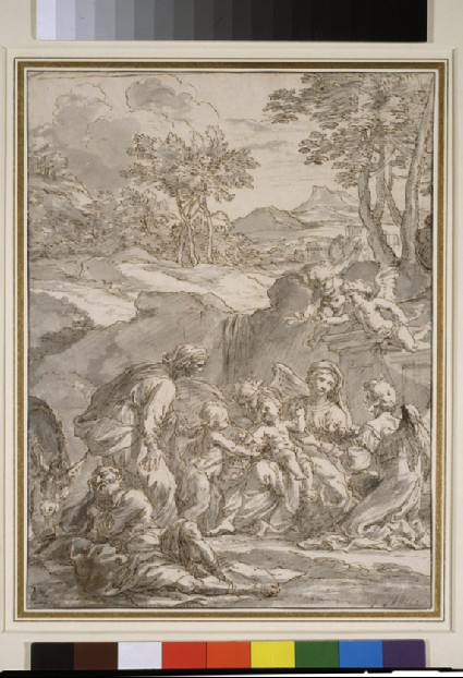 The Rest on the Flight into Egypt with St Elizabeth, St John, and four angels