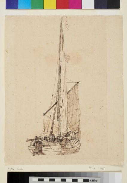 Ship with Sail at half Mast