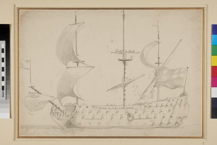 A near broadside View of the 'Royal Sovereign' before the Wind