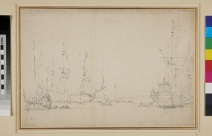 Dutch Ships at Anchor near the Shore with a Yacht on the left