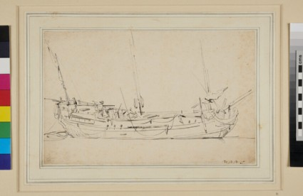 Near Broadside of a small three-masted Vessel