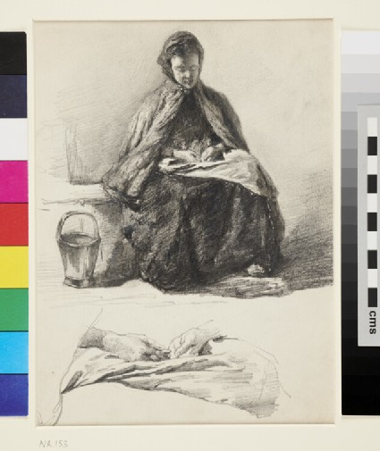Seated Woman, with a Study of Hands below