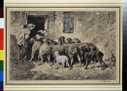 A shepherd and his dog herding sheep through a doorway