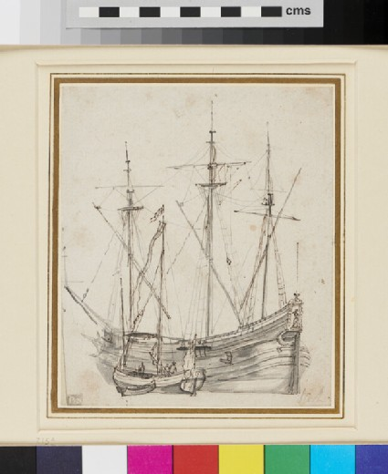 A three-masted Vessel with two Vessels in Attendance