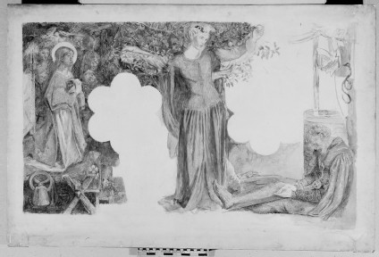 Sir Lancelot's Vision of the Sanc Grael: Study for the Fresco painting in the Oxford Student Union