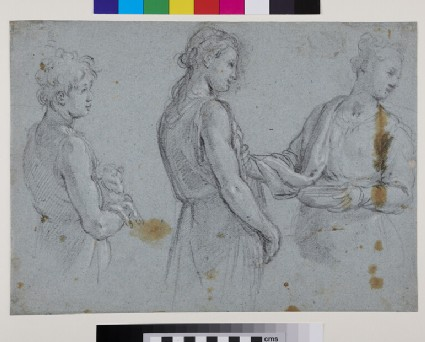 Recto: Studies of three Figures