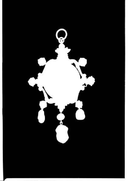 Pendant medallion portrait of Ryllis Hacon in a framework of scrolls and leaves