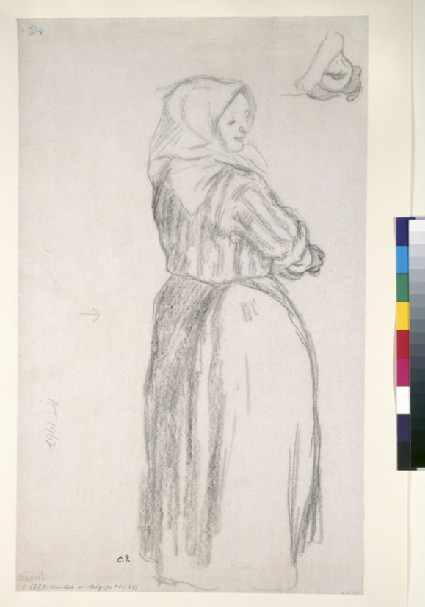 Nearly whole-length study of a female peasant with a detailed study of the foreshortening of the right forearm and hand above
