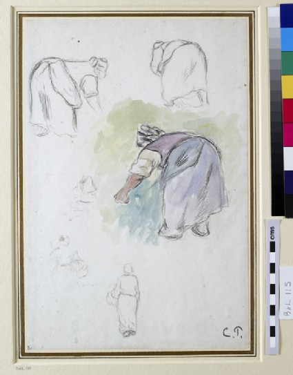 Sheet of Studies: Four Studies of a female Peasant bending, and two Studies of a Woman holding a Basket seen from the front and back respectively