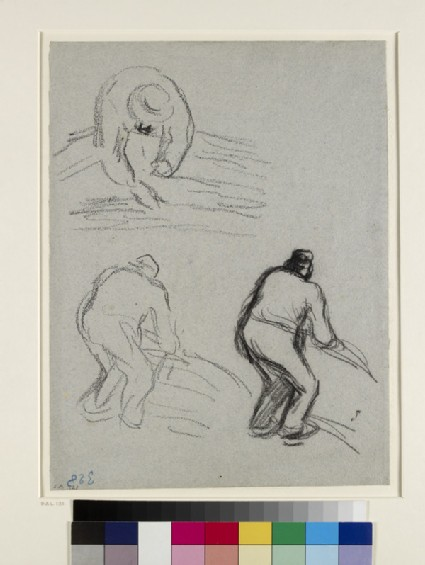 Recto: Four studies of a male peasant flailing