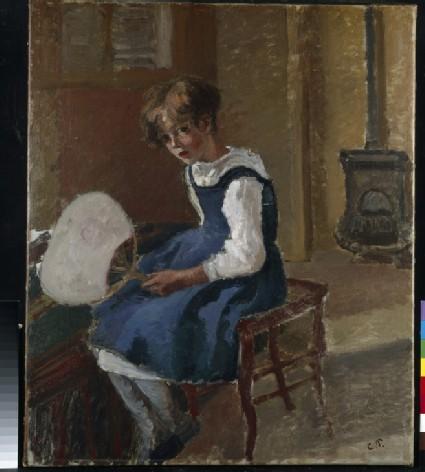 Jeanne Pissarro (Minette) holding a Fan
