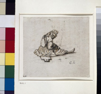 Recto: Study of a seated female figure sewing